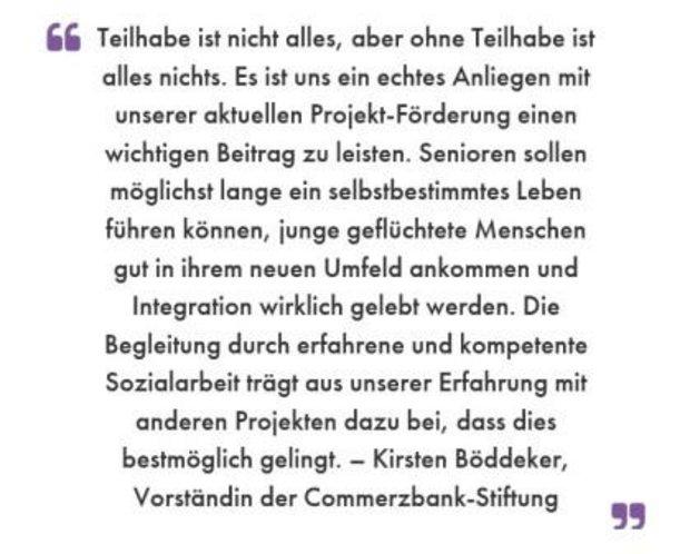 Zitat: Kirsten Böddeker, Vorstand Commerzbank-Stiftung